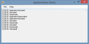 A simple demonstration of application activation and deactivation.