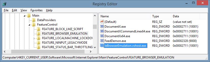 Configuring the emulation mode of an Internet Explorer
