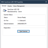 The WIA CanoScan LiDE 100 scanner properties dialog