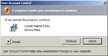 Windows Vista confirmation dialog showing the present of a certificate
