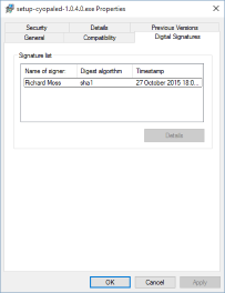The File Properties dialog containing a Digital Signature tab