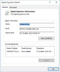 Viewing the digital signature properties
