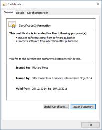 Viewing the certificate properties