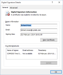 An invalid digital signature