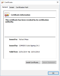An invalid certificate