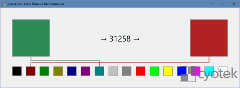 A demo showing the distance between two colors, and mapping those colors to the nearest color in a fixed palette