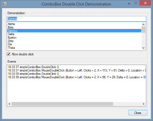Double click events from a simple mode ComboBox control