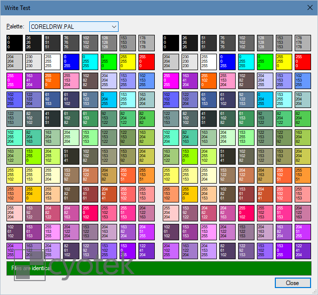 Working with CorelDRAW Palettes part 2, writing  pal files