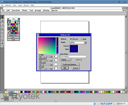 Opening a palette created by this article in CorelDRAW! 3.0