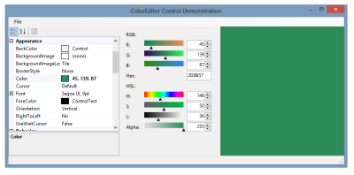 ColorEditor controls demonstration