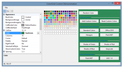 ColorGrid control demonstration