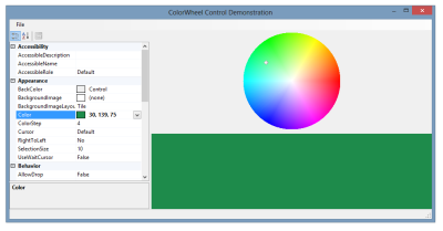 ColorWheel control demonstration