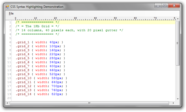 CSS Syntax Highlighting in the DigitalRune Text Editor Control