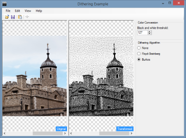 The final result - a bitmap transformed with Burkes dithering