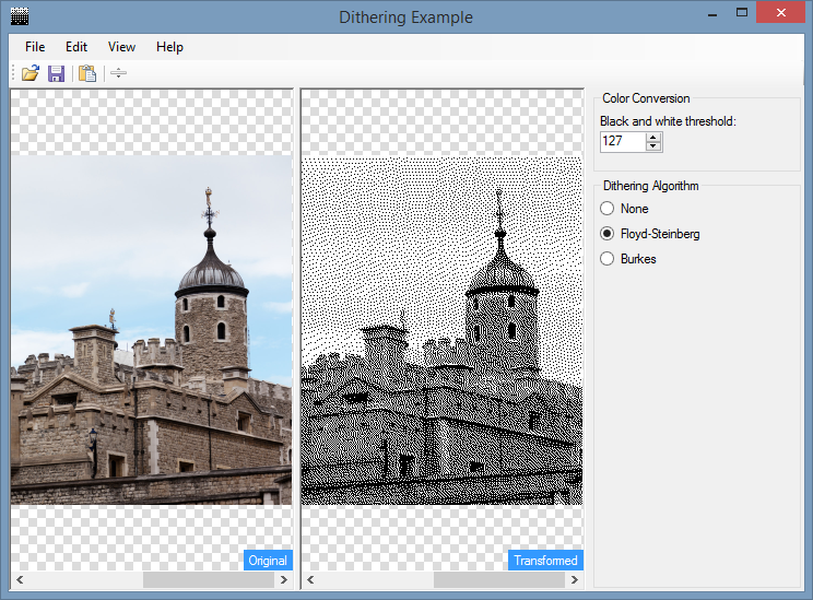 Dithering an image using the Floyd‑Steinberg algorithm in C#