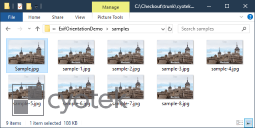 Windows Explorer showing correctly orientated images