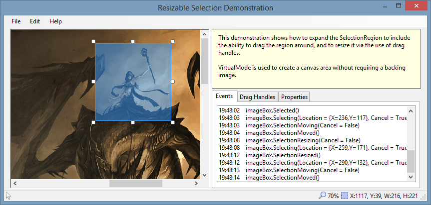 Adding drag handles to an ImageBox to allow resizing of