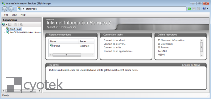 An example of a Start Page on older versions of IIS
