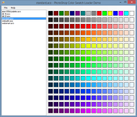 A sample application showing loading of colour swatches from Photoshop colour swatch files