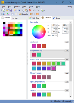 Viewing live color schemes in Palette Editor