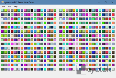 Example program that generates a random palette and saves it into a RIFF form