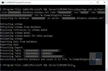 Exporting an Azure SQL Database to a data-tier application file via the command line