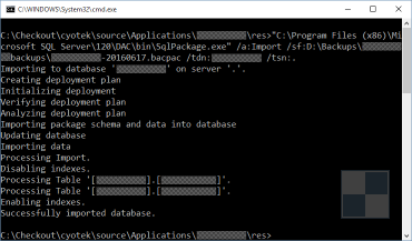 Importing a data-tier application into a local SQL Server instance from a BACPAC file via the command line