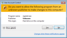 An example of a UAC prompt for an unsigned application