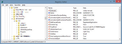 Default settings located in the Windows Registry