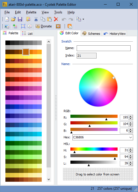 Cyotek Color Palette Editor screenshot