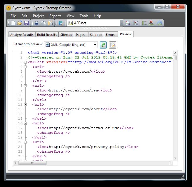 cyotek sitemap creator features create sitemaps for use
